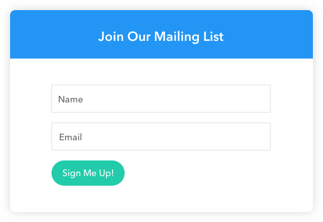 An illustration of a popup form that does not include a lead magnet