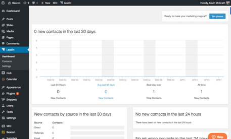Screenshot of Leadin Analytics