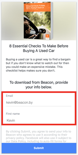 example of a facebook lead ad form