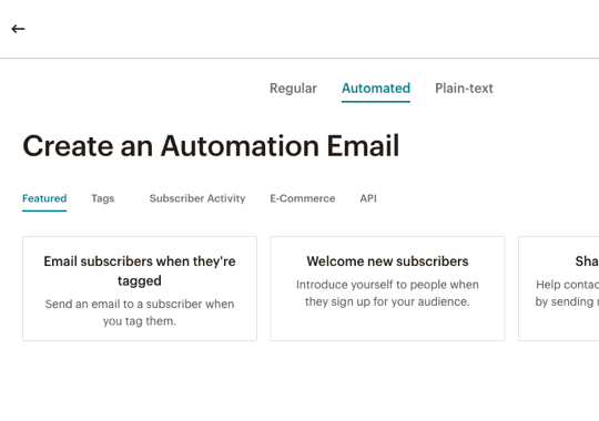 screenshot of the automation workflows in mailchimp